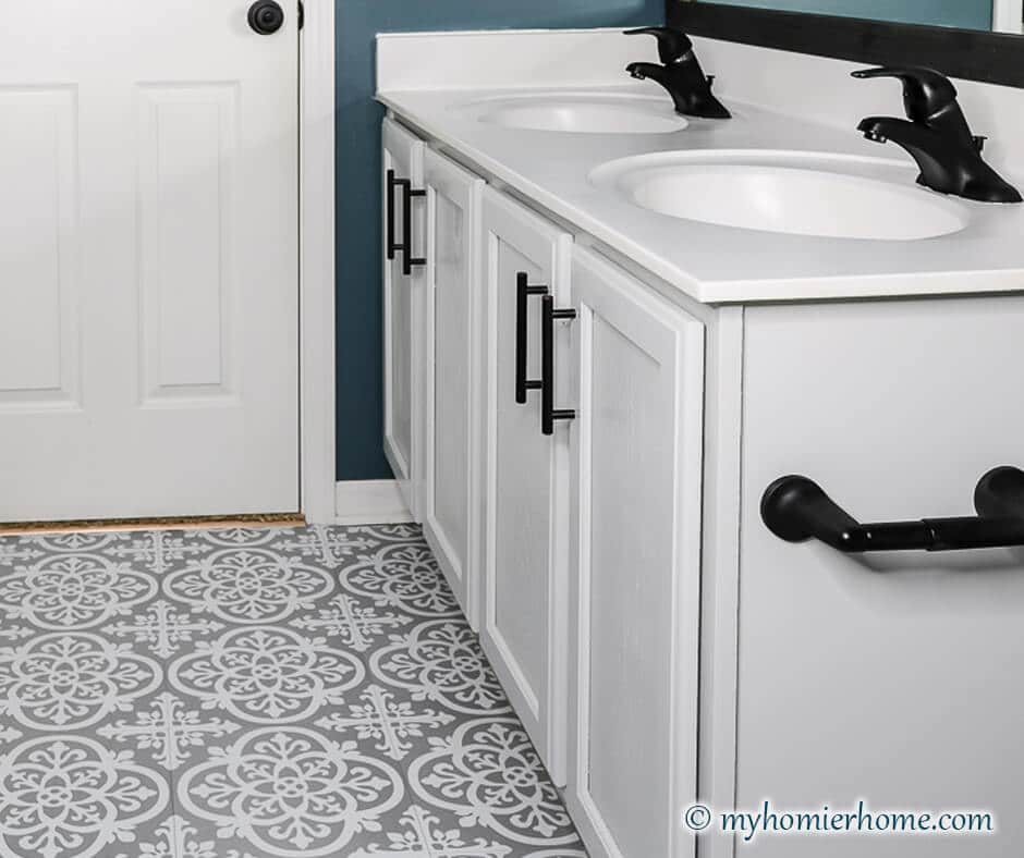 Blue, Gray, & White $100 Guest Bathroom Reveal