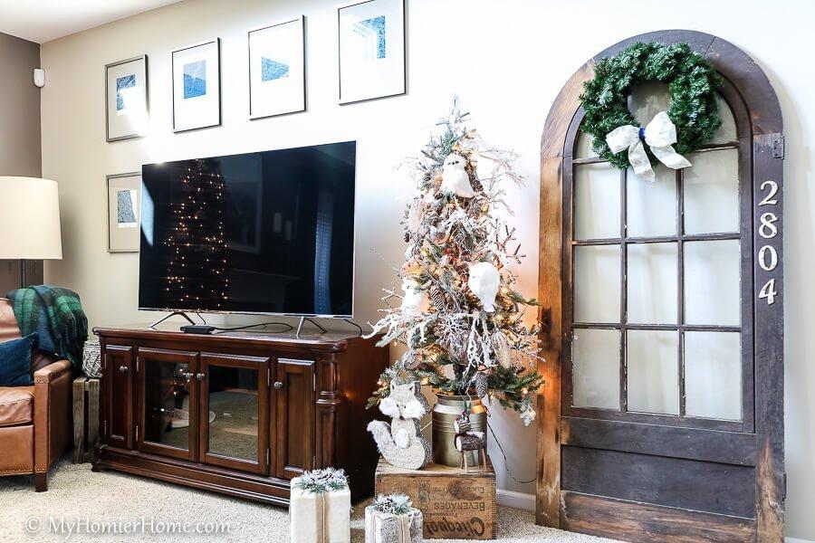 Owl tree on our Christmas home tour