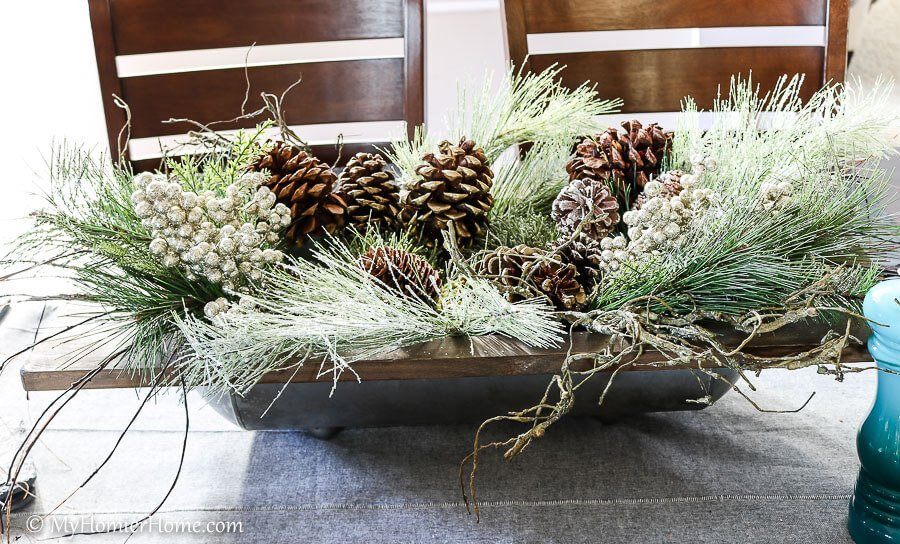 kitchen table centerpiece in my christmas home tour