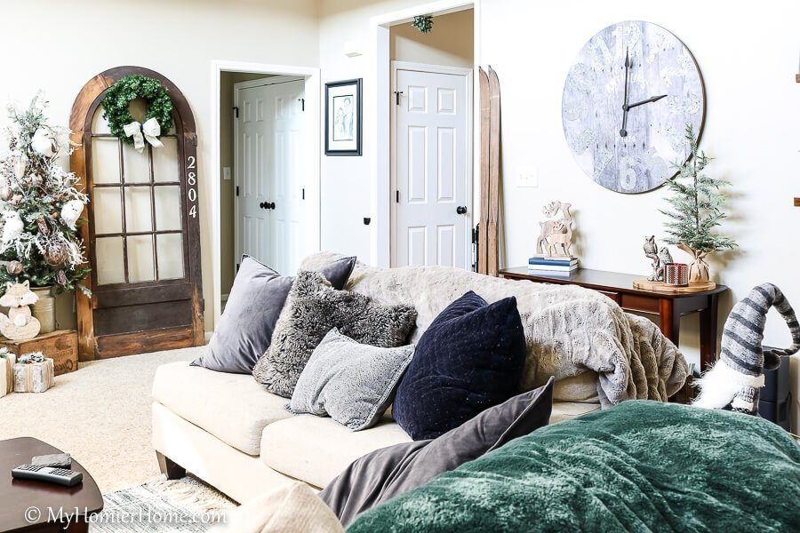 living christmas couch on home tour