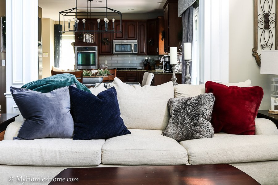 living room Christmas couch on home tour