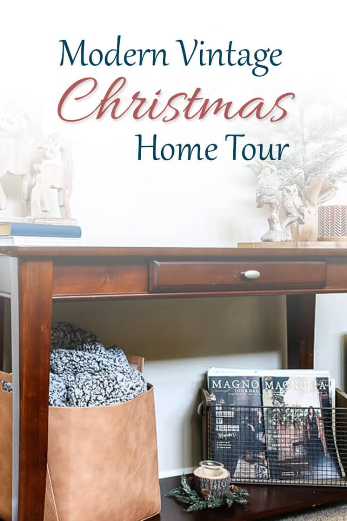 A modern vintage Christmas home tour in classic red and green with a touch of navy