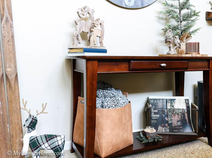 Living room Christmas decor on home tour