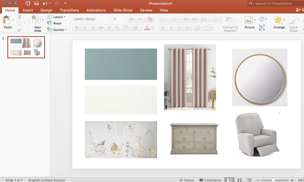 Items pasted into powerpoint to create a mood board