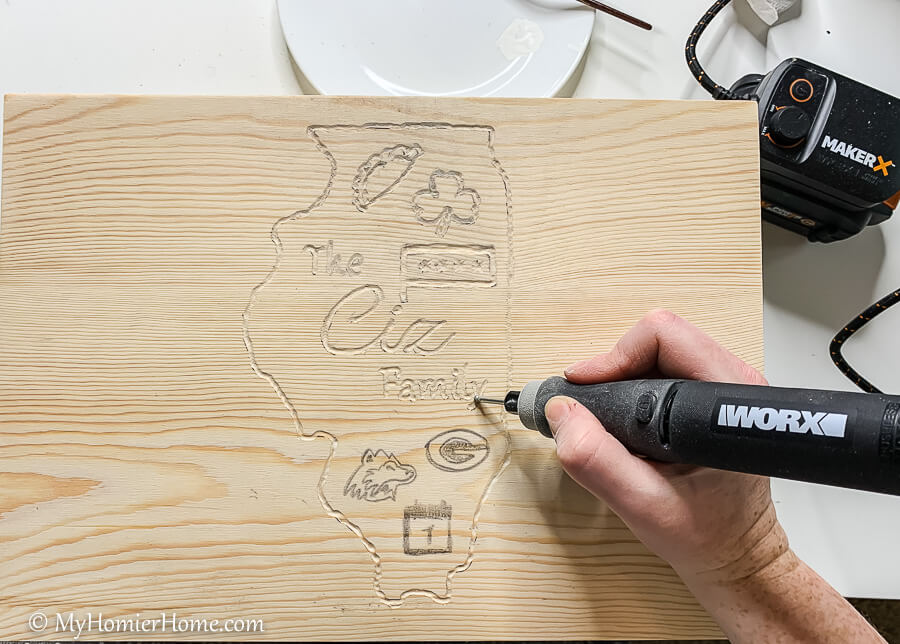 Use the MakerX tool to engrave your crest into the christmas eve box