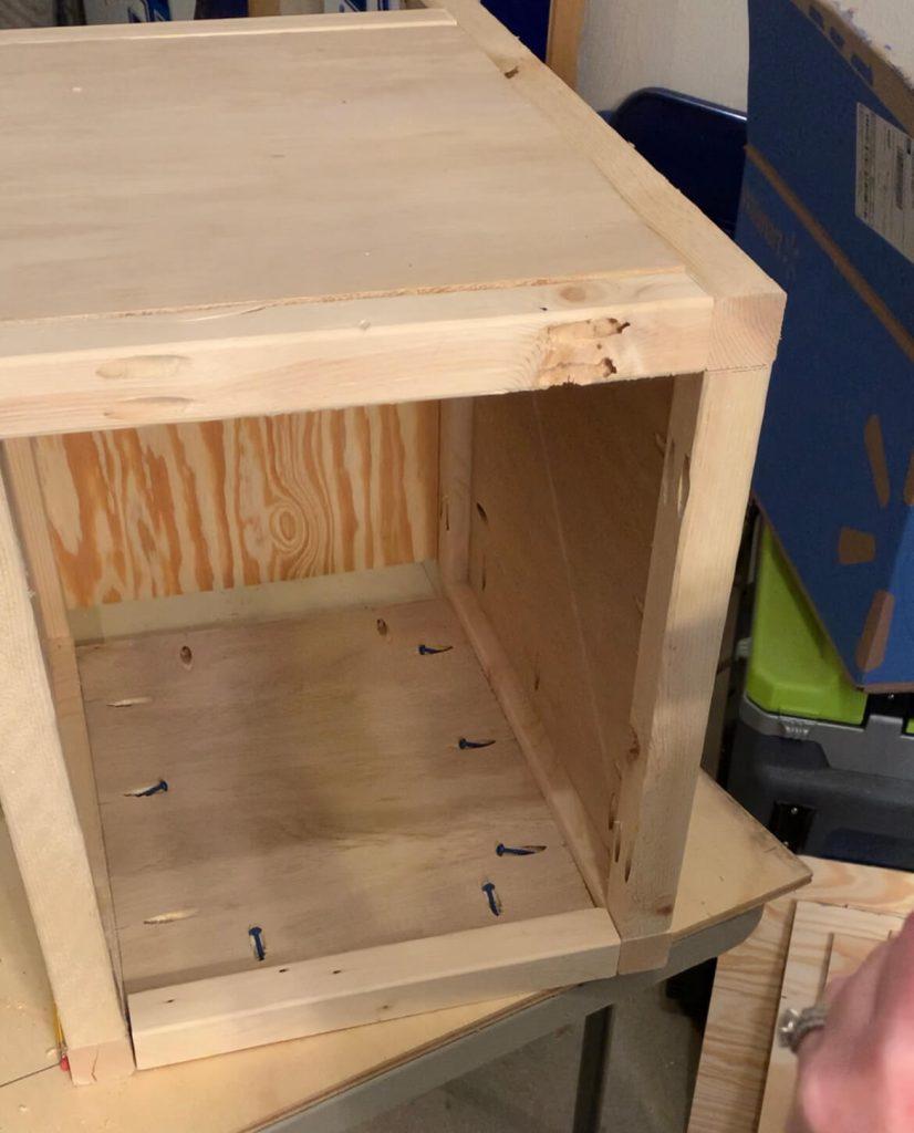 DIY end table fourth side plywood