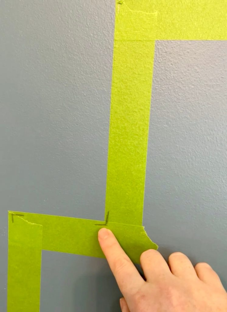 DIY Home Office Accent Wall marking off the inside
