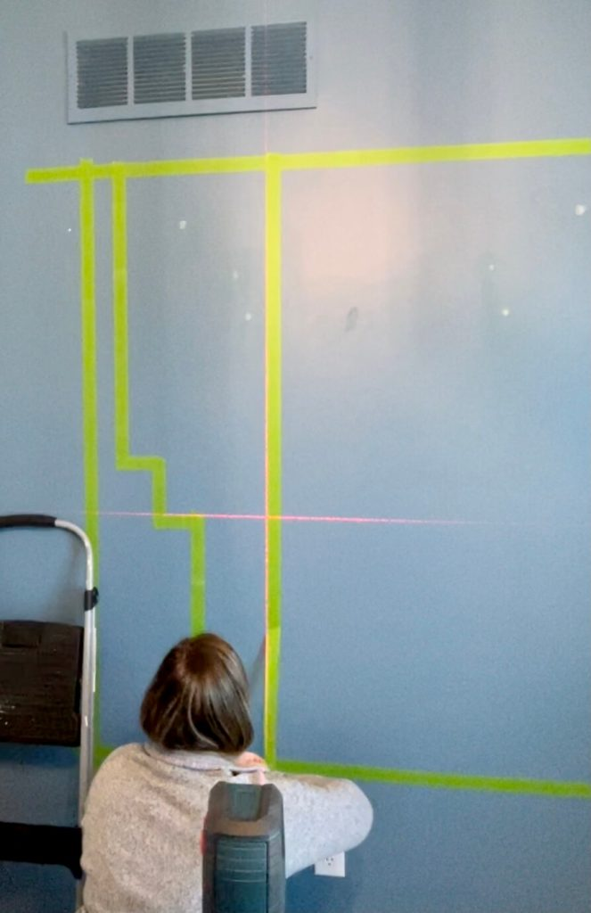 DIY Home Office Accent Wall taping off the sections
