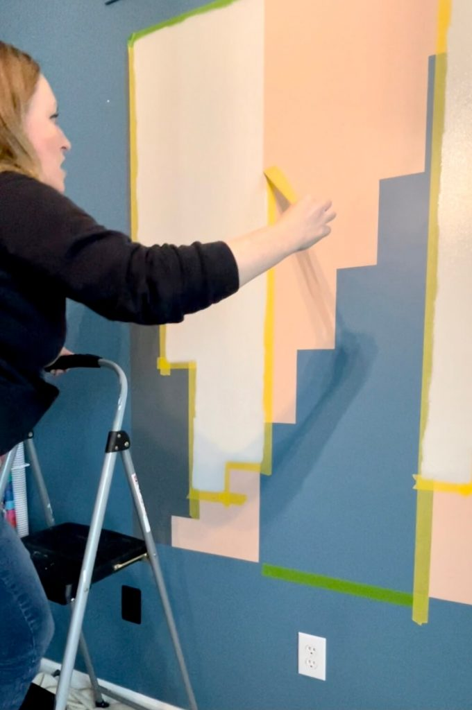 DIY Home Office Accent Wall paint and remove tape section three
