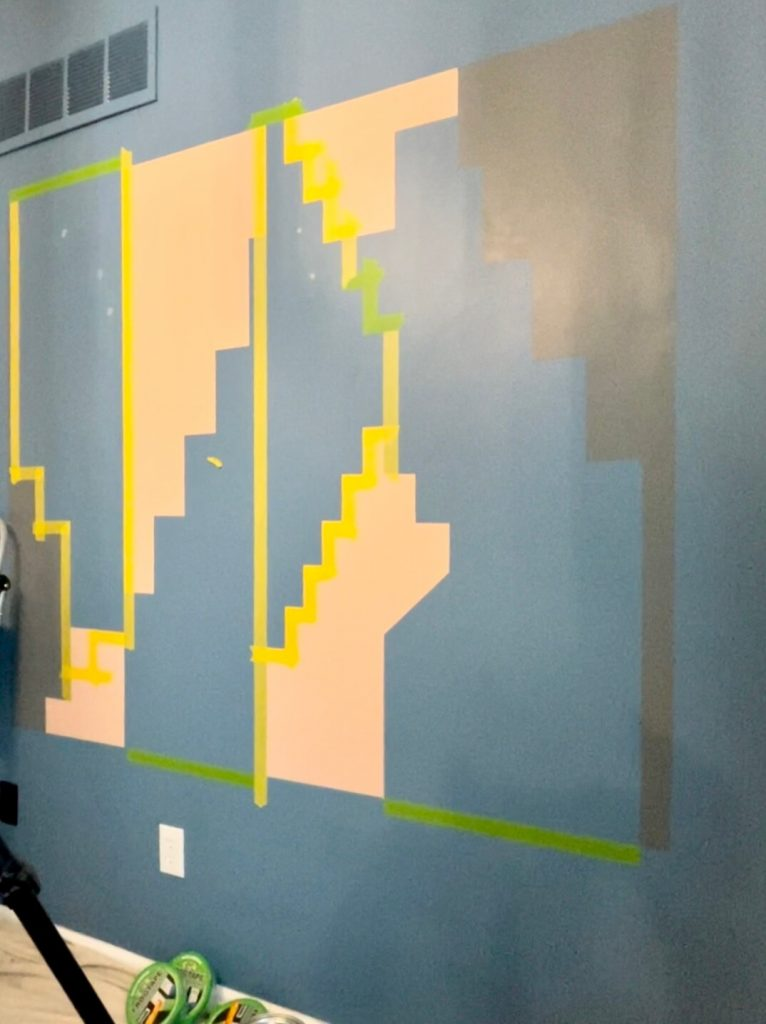 DIY Home Office Accent Wall tape section three