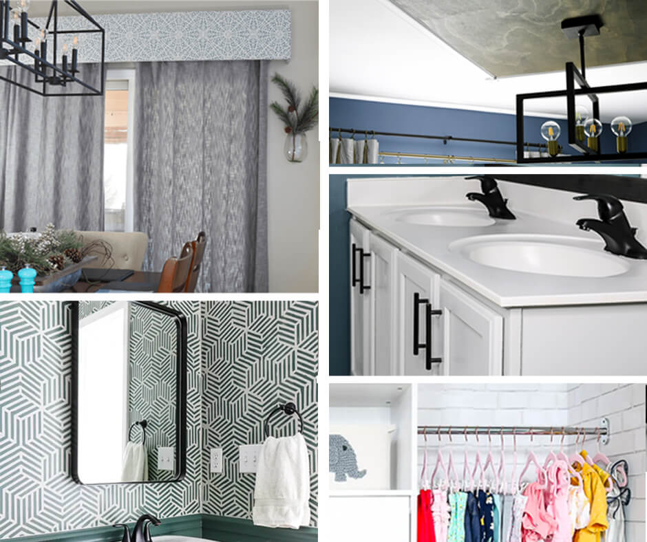 collage of 5 easy diy home projects for beginners on a budget