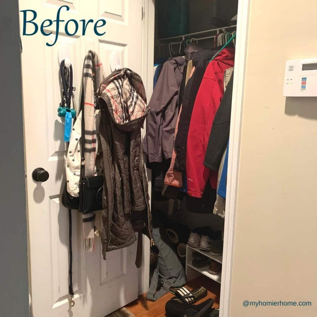 My coat closet before I used my 11 tips to declutter and organize for the quick-win!
