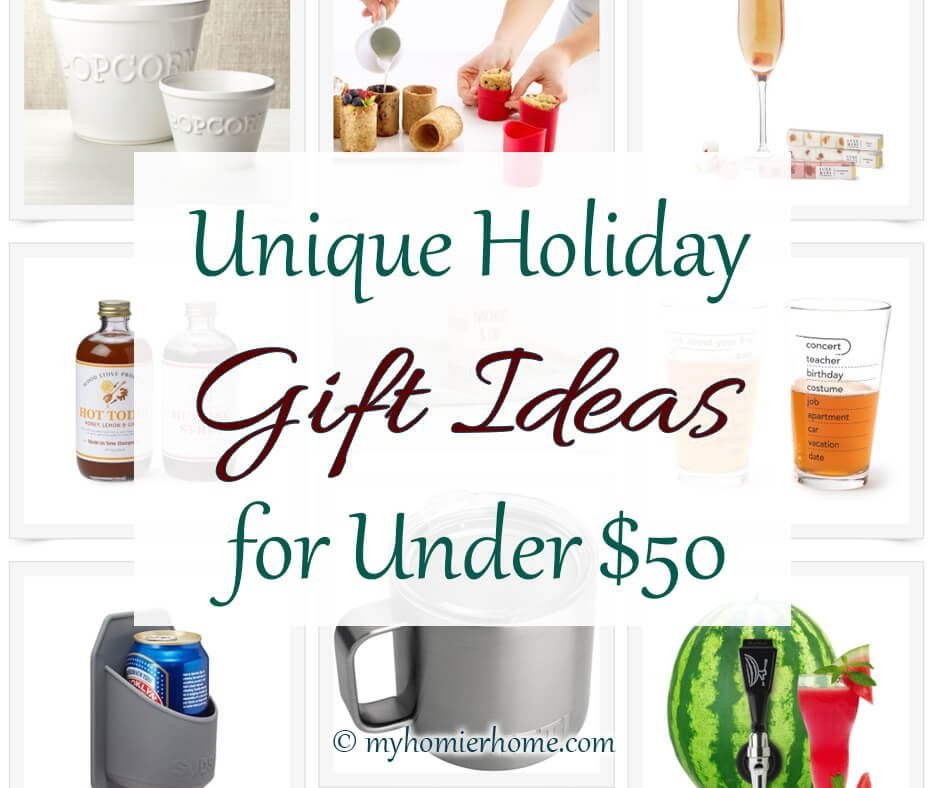 If you are looking for unique gift ideas under $50, this is the post for you. With drink related gifts, fun for the home, and unique gifts for pet lovers, you'll definite find the inspiration you need to give an awesome gift this year.