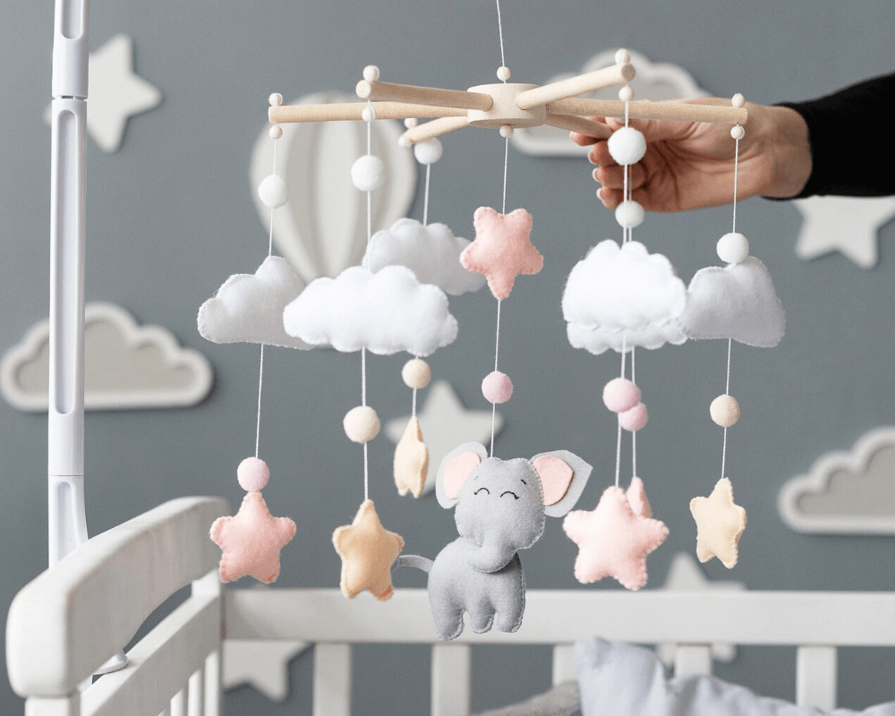 Girl Nursery Decor - Elephant Baby Mobile