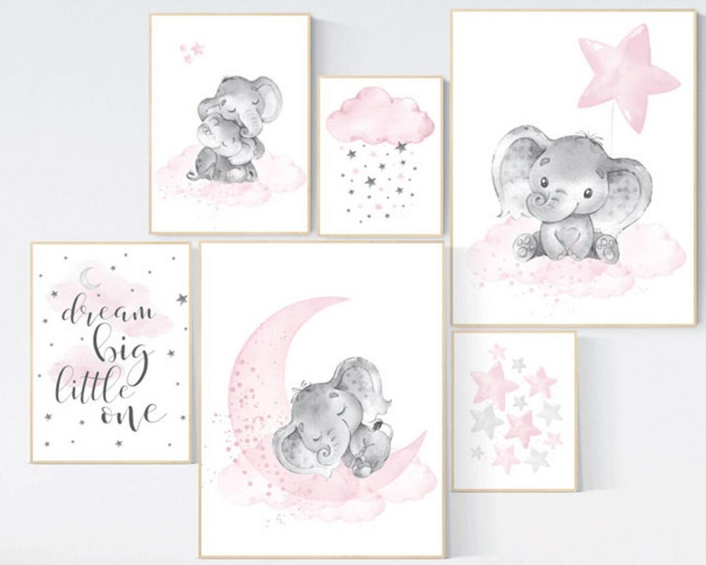 Girl Nursery Decor - Elephant Prints