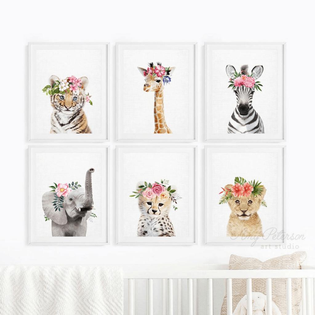 Girl Nursery Decor - Safari Animals Floral Crowns