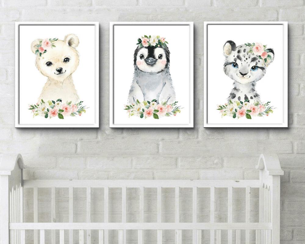 Girl Nursery Decor - Watercolor Animal Print