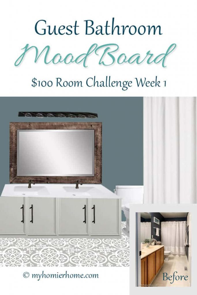 Wanna see my plan to update my 90s bathroom for $100? Come check out my guest bathroom mood board and before photos.