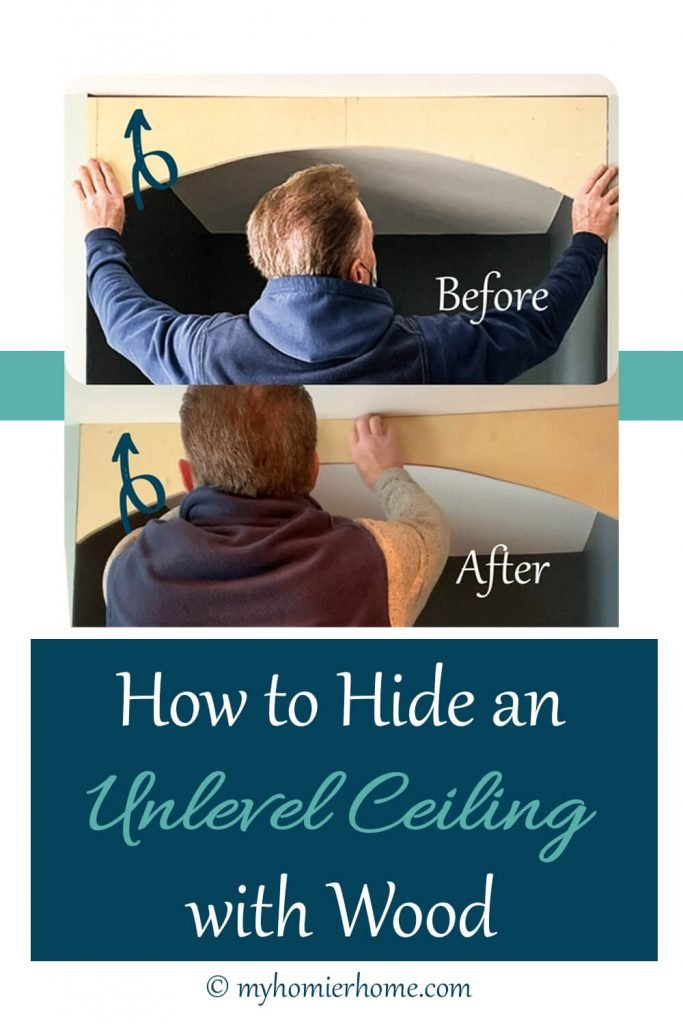 before and after of the work we did to hide unlevel ceiling