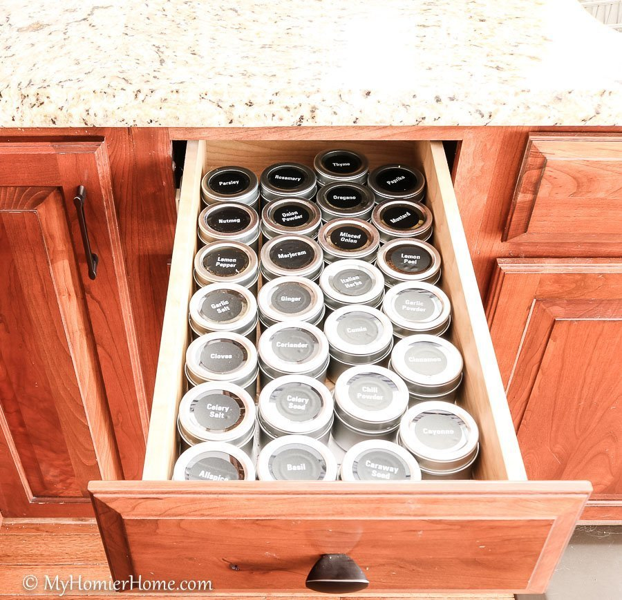 How to organize your kitchen cabinets using clear and simple strategies to tackle kitchen cabinet dysfunction without losing your mind. Spice drawer after