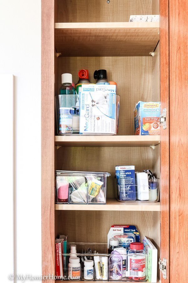 How to organize your kitchen cabinets using clear and simple strategies to tackle kitchen cabinet dysfunction without losing your mind - Medicine Cabinet after