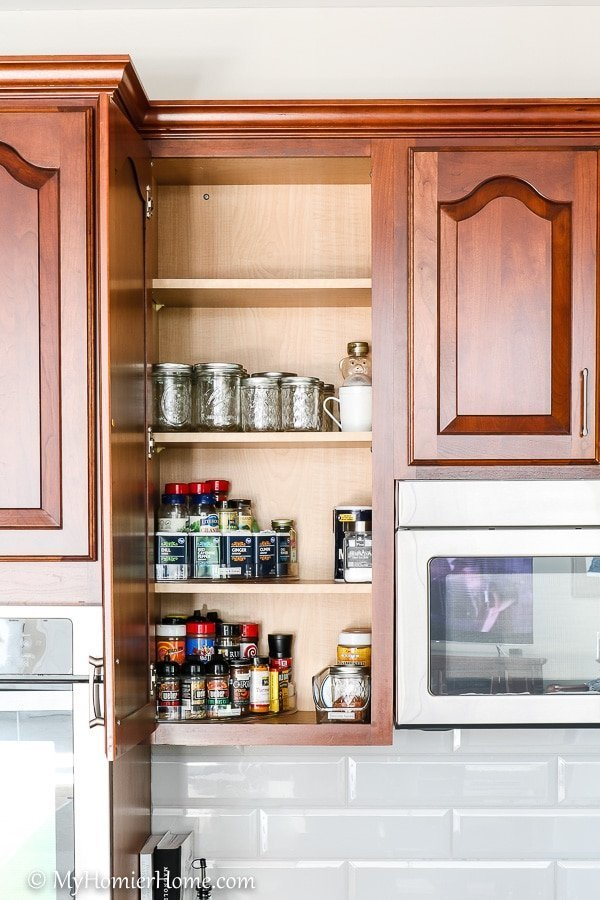 How to organize your kitchen cabinets using clear and simple strategies to tackle kitchen cabinet dysfunction without losing your mind. The spices cabinet after... booya!