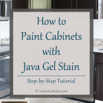 Looking to upgrade your out-dated cabinets? Follow this tutorial for how to apply java gel to your cabinets for a beautiful wood-stained look.