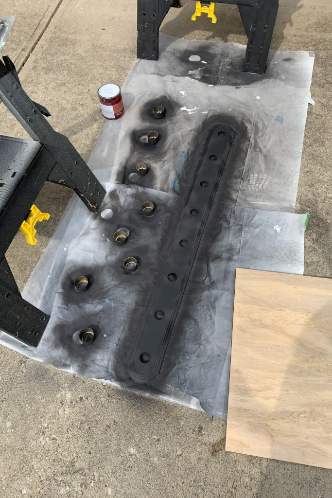 spray painted fixture parts
