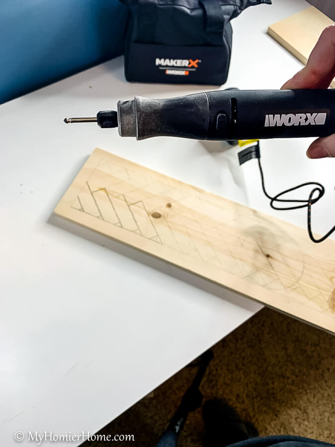 Use the MakerX rotary tool to etch over your traced pattern