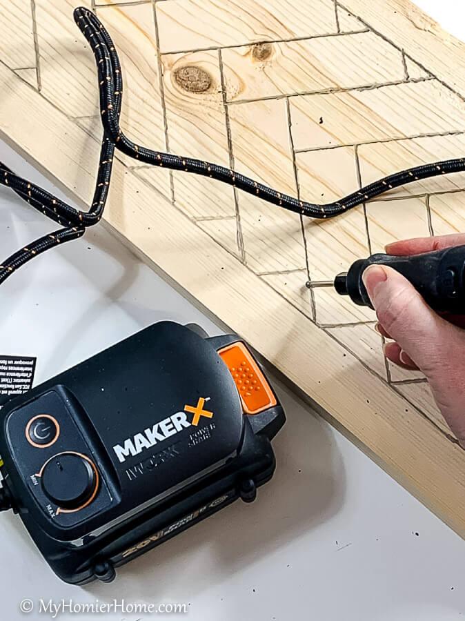 use your portable makerx to Make Wood Herringbone Pattern