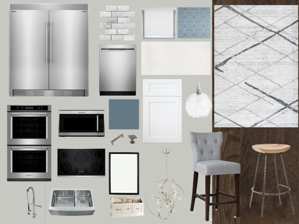 Blue, Gray, & Neutral Kitchen Mood Board