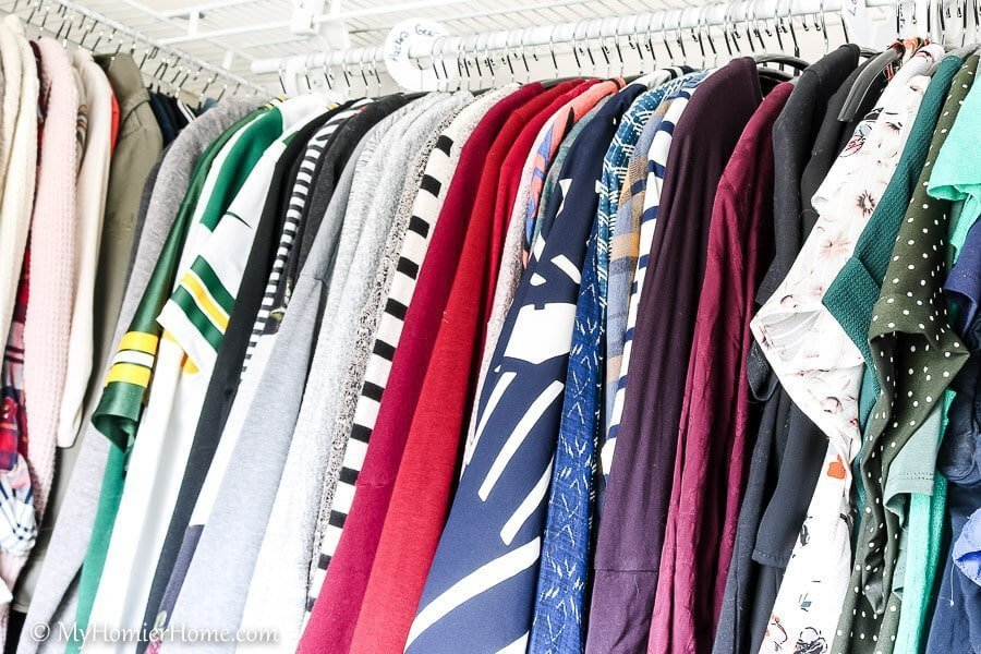 When organizing your closet, a great investment is all the same hangers, preferably slim hangers. These are the hangers I love to use for shirts.