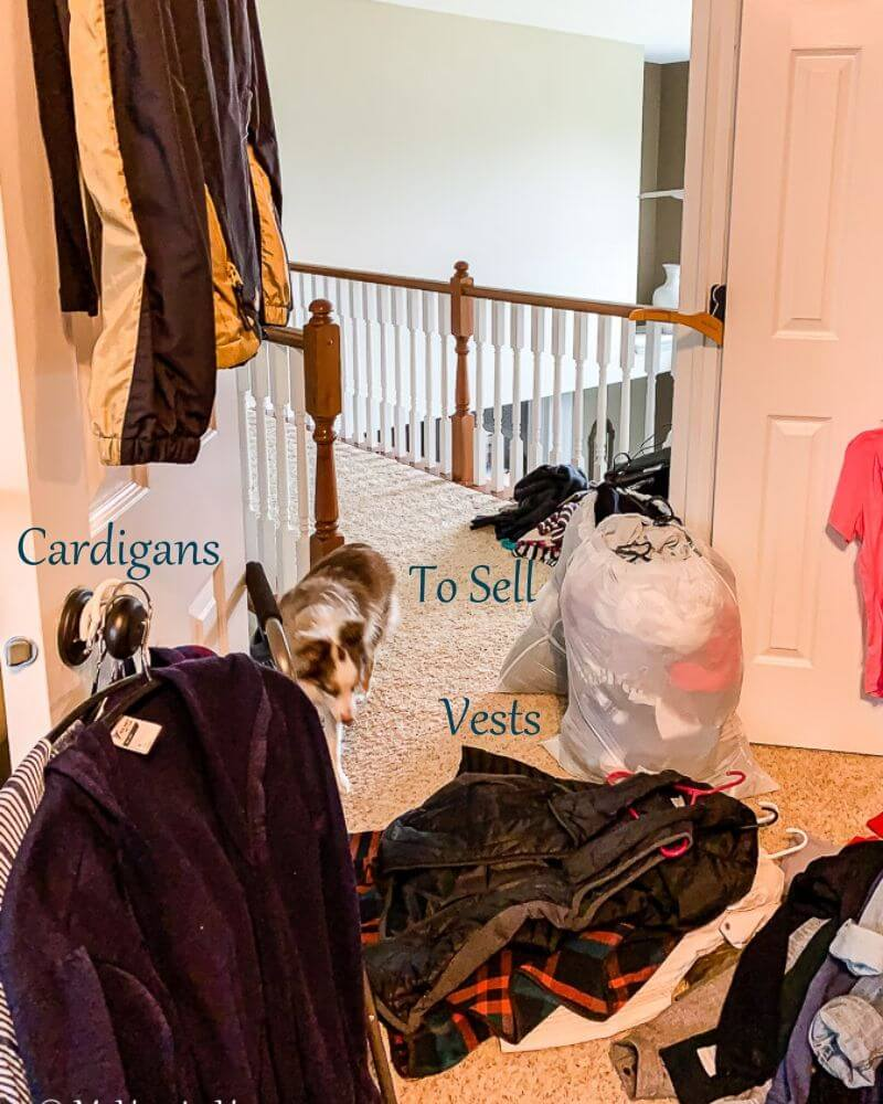 Create piles of like items as you remove items from your master closet. Then, purge each pile separately.