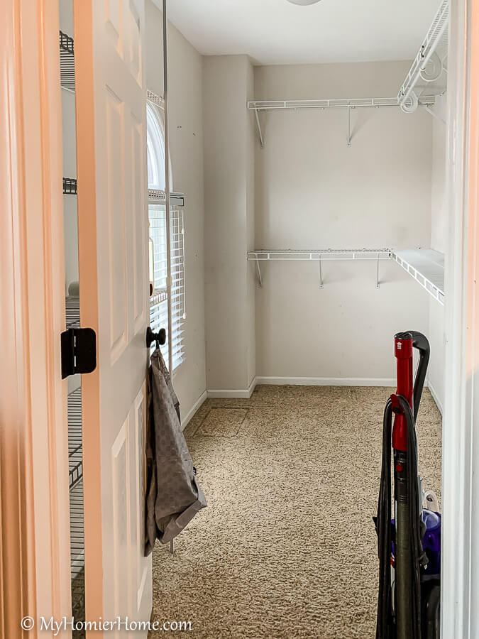 Once the closet is purged, wipe everything down and vacuum