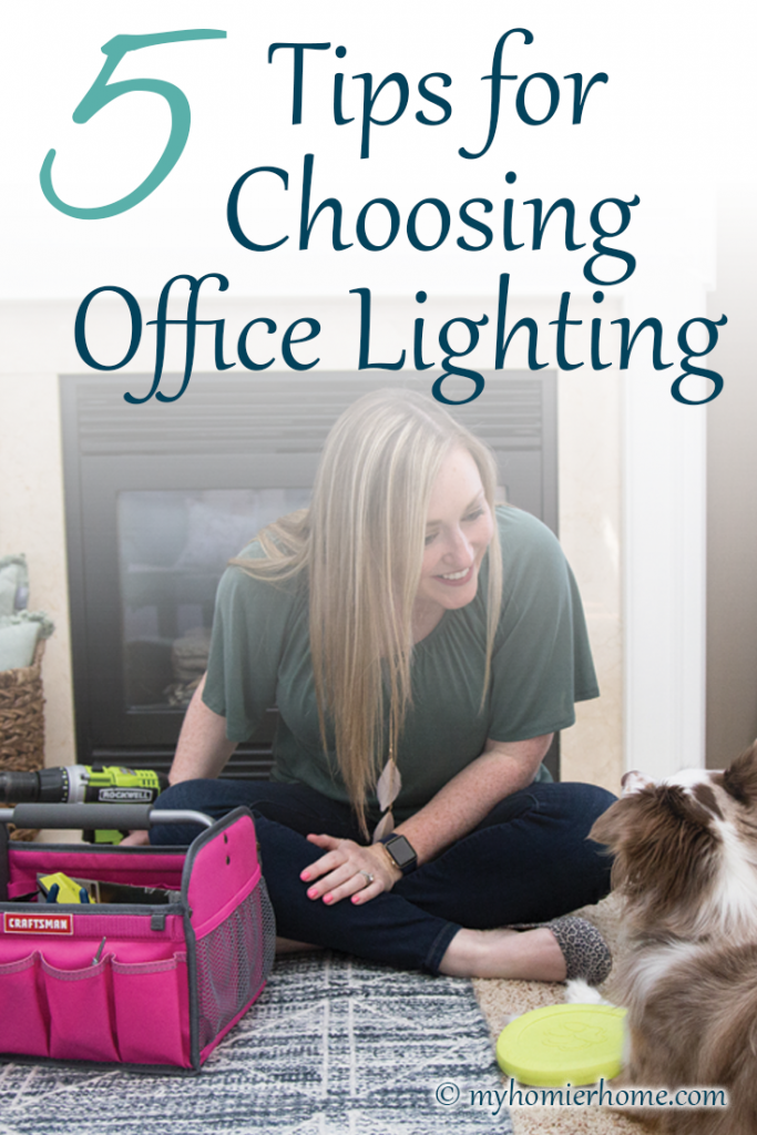 Look at this ugly fluorescent light fixture in my home office!! EWW!! Get all my tips on choosing office lighting and see what I chose!