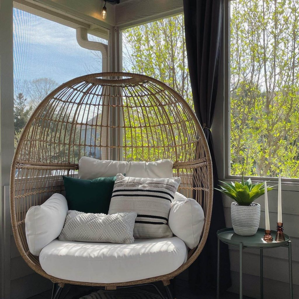 egg chair and outdoor pillows