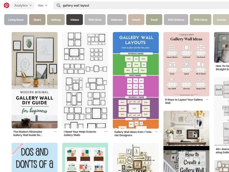 Looking to create the perfect gallery wall? These 7 steps will ensure you get it right the first time! One of the steps is brainstorming layouts on Pinterest.