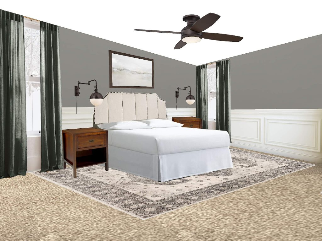 Looking to find the best bedroom rug placement for your bedroom? This is the post for you. All your options are right here. This option is putting the rug under the bed and nightstands.