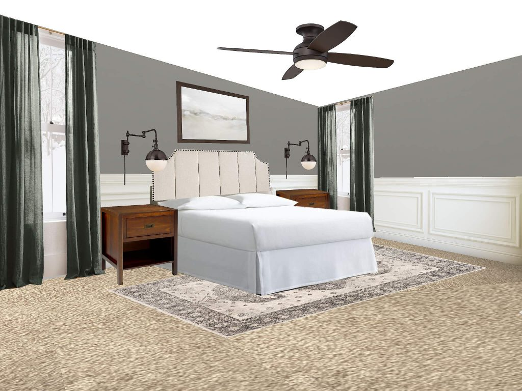 Looking to find the best bedroom rug placement for your bedroom? This is the post for you. All your options are right here. This option is the rug in front of the nightstands under the bed
