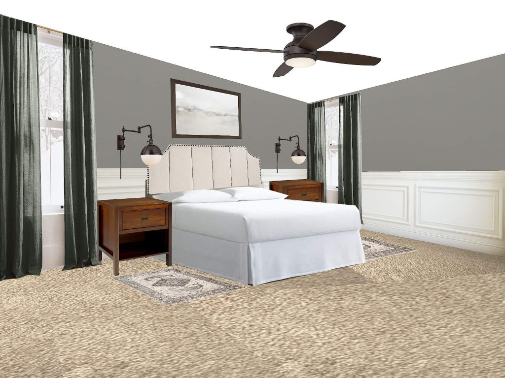 Looking to find the best bedroom rug placement for your bedroom? This is the post for you. All your options are right here. This option is two rugs on either side of the bed.