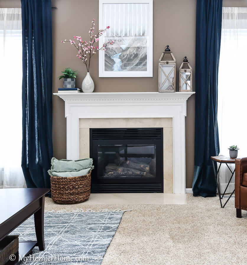 How to Spray Paint the Fireplace Surround before photo