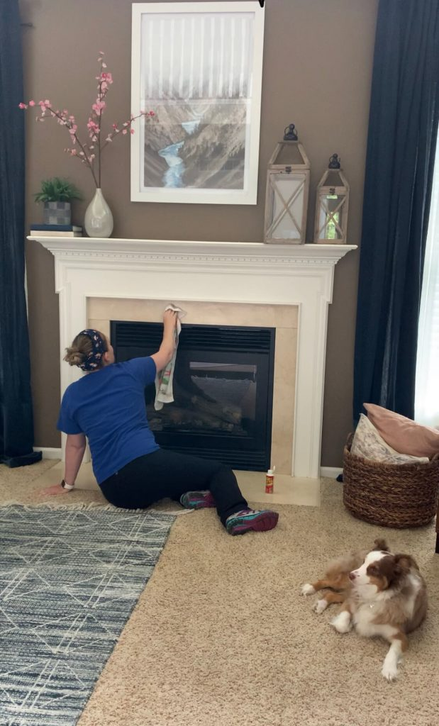 ccleaning before spray paint fireplace surround