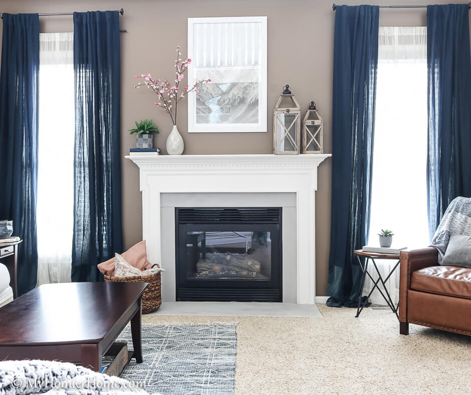 How to Spray Paint the Fireplace Surround after photo