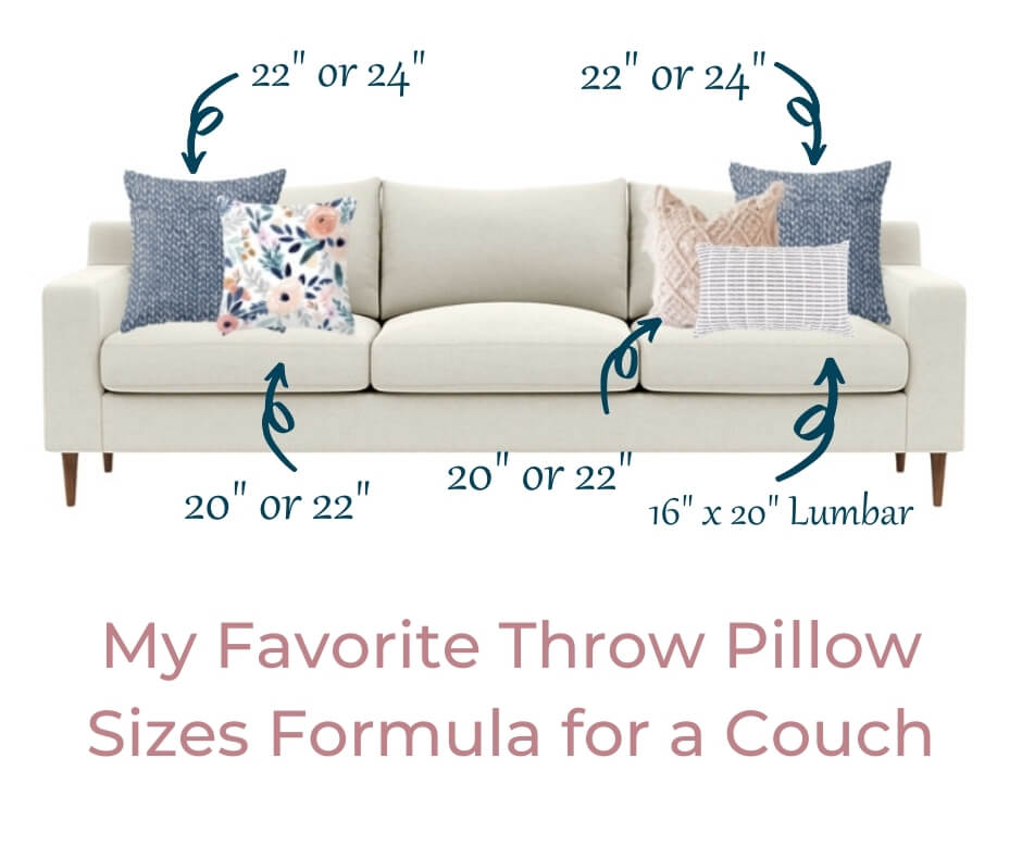 throw pillow sizes formula for couch option 1