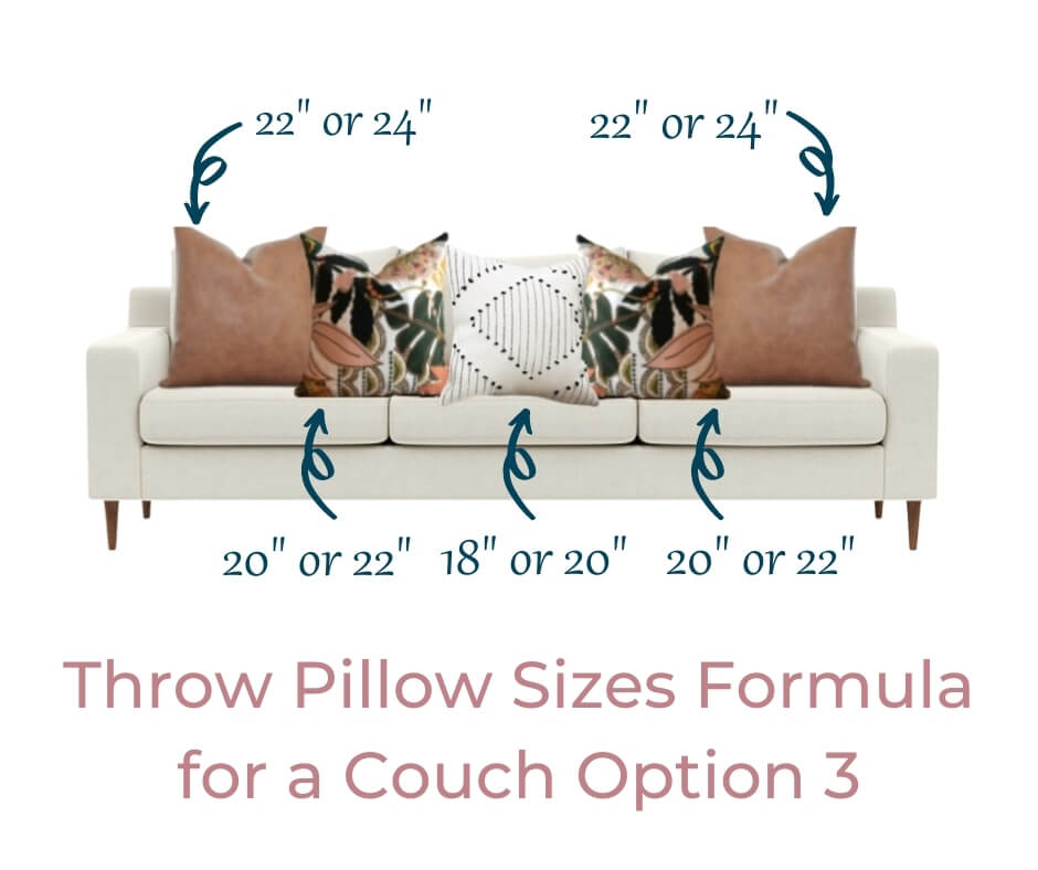 throw pillow sizes formula for couch option 3