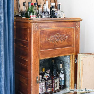 Antique Ice Chest Turned Vintage Bar Cart